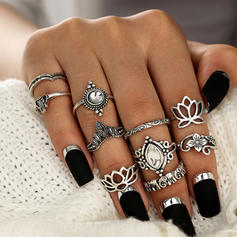 Fashionable Alloy Acrylic With Acrylic Women's Fashion Rings (Set of 10 pairs)