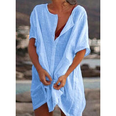 Solid Color Round Neck Plus Size Casual Cover-ups Swimsuits