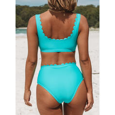 Solid Color String Strap V-Neck Classic Plus Size Bikinis Swimsuits