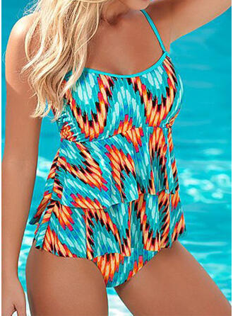Floral Splice color Color Block Strap U-Neck Cute Colorful Casual One-piece Swimsuits