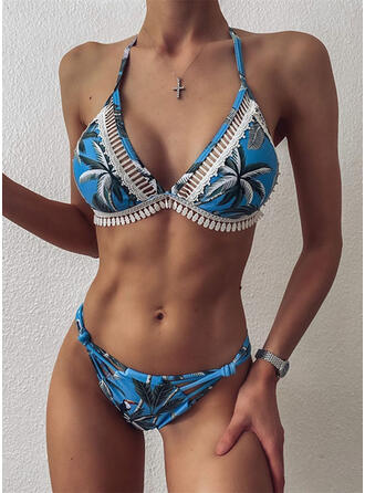 Leaves Tropical Print Lace Up V-Neck Strapless Bohemian Cute Bikinis Swimsuits