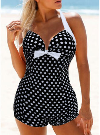 Floral Ruffles Knotted Halter V-Neck Strapless Cute Plus Size Eye-catching Exquisite One-piece Swimsuits
