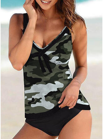 Strap V-Neck Classic Casual Tankinis Swimsuits