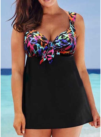 Colorful Strap Beautiful Plus Size Swimdresses Swimsuits