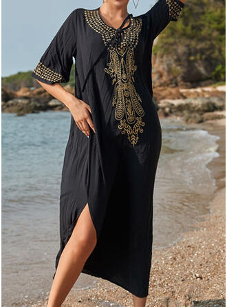 Print Round Neck Beautiful Classic Attractive Cover-ups Swimsuits