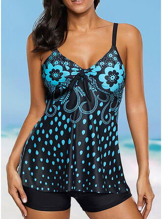 Print Strap V-Neck Beautiful Casual Tankinis Swimsuits