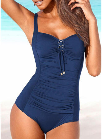 Solid Strap U-Neck Sexy Vintage One-piece Swimsuits
