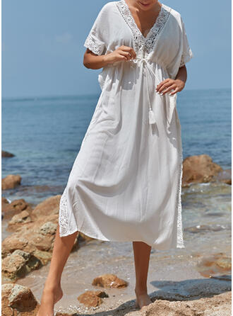 Solid Color V-Neck Casual Exquisite Luxury Cover-ups Swimsuits