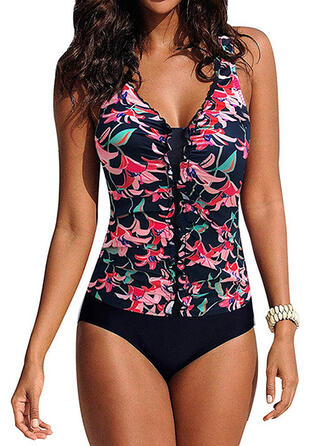 Floral Print Strap V-Neck Colorful One-piece Swimsuits