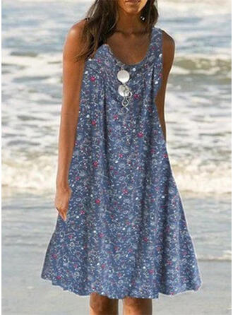 Print Strap Round Neck Plus Size Boho Cover-ups Swimsuits