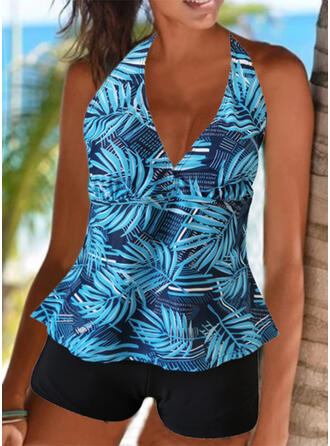 Splice color Tropical Print Ruffles Lace Up Halter V-Neck Strapless Sports Casual Boho Tankinis Swimsuits