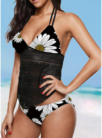 Print Patchwork Halter V-Neck Casual Exquisite Tankinis Swimsuits