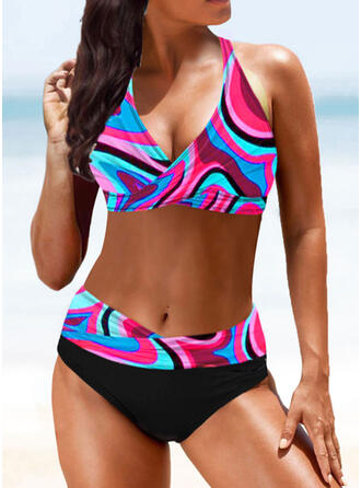 High Waist Print Splice color Strap V-Neck Sexy Vintage Boho Bikinis Swimsuits