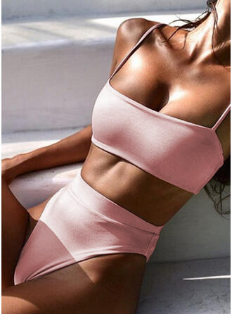 Solid Color Tank Strap Sexy Sports Bikinis Swimsuits