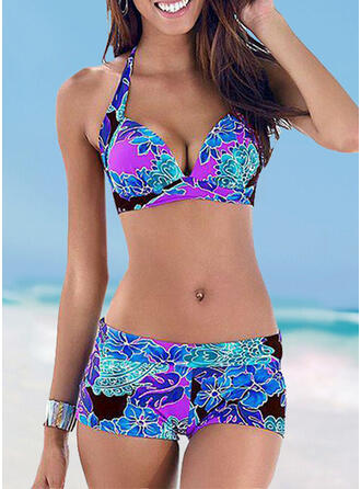 High Waist Print Halter Sexy Fresh Plus Size Bikinis Swimsuits
