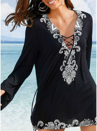 Print V-Neck Bohemian Cover-ups Swimsuits