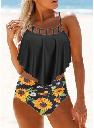 Floral High Waist Print Strap Vintage Plus Size Tankinis Swimsuits
