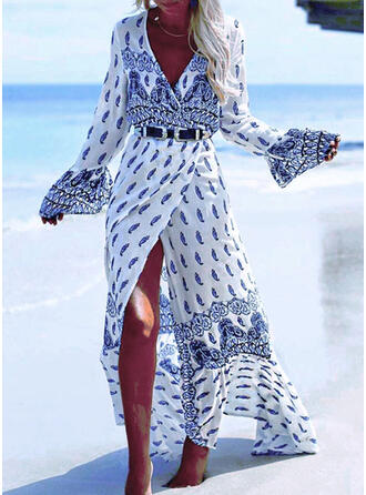 Patchwork Geometric V-Neck Sexy Attractive Boho Cover-ups Swimsuits