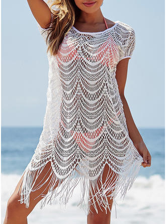 Solid Color Round Neck Sexy Fashionable Attractive Cover-ups Swimsuits