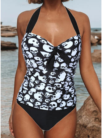 Floral Splice color Knotted V-Neck Strapless Sexy Plus Size Eye-catching Boho One-piece Swimsuits