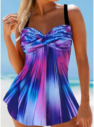 Splice color Gradient Strap Casual Amazing Swimdresses Swimsuits
