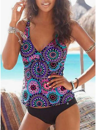 Print Strap V-Neck Casual Tankinis Swimsuits