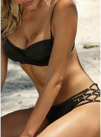 Solid Color Low Waist Push Up Strap Sexy Bikinis Swimsuits