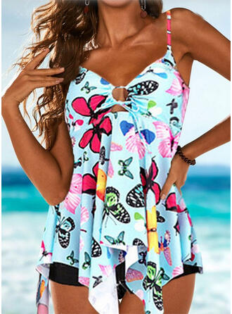 Floral U-Neck Tankinis Swimsuits