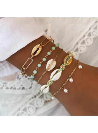 Stylish Attractive Alloy With Imitation Pearl Shell Jewelry Sets Bracelets Beach Jewelry (Set of 5 pairs)