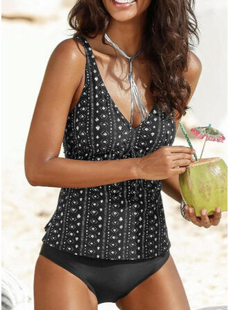 Dot Print Strap V-Neck Vintage Fresh Tankinis Swimsuits