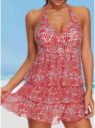 Print Ruffles Halter Sexy Attractive Swimdresses Swimsuits
