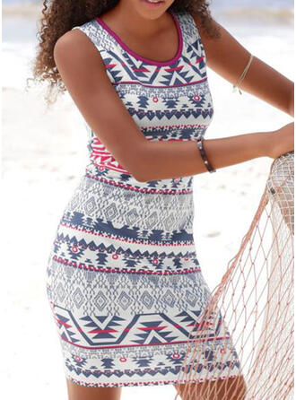 Print Strap Round Neck Sexy Boho Cover-ups Swimsuits