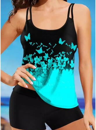 Butterfly Floral Animal Print Strap U-Neck Plus Size Casual Tankinis Swimsuits