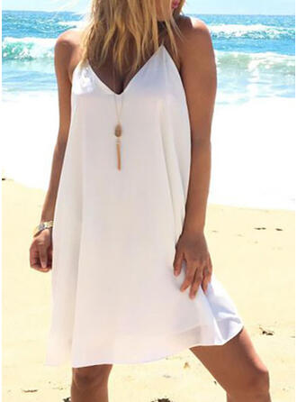 Solid Color Strap V-Neck Sexy Casual Boho Cover-ups Swimsuits