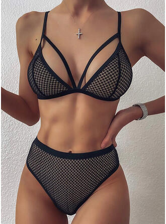 Solid Color High Waist Hollow Out Backless Strap V-Neck Sexy Retro Bikinis Swimsuits