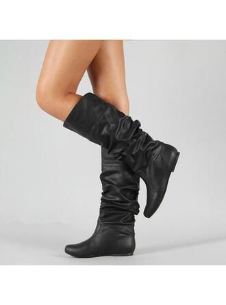 Women's PU Low Heel Boots Mid-Calf Boots With Ruched shoes