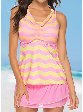 Floral Stripe Knotted Strap V-Neck Detachable Sports Eye-catching Casual Tankinis Swimsuits
