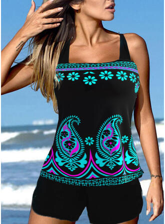 Floral Print Strap U-Neck Plus Size Casual Tankinis Swimsuits