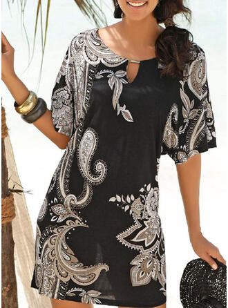 Floral U-Neck High Neck Cover-ups Swimsuits