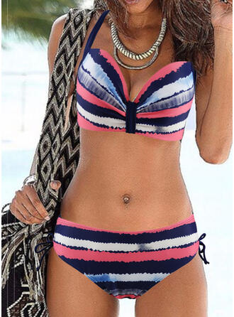 Stripe Splice color Lace Up Strap Halter V-Neck Sexy Colorful Eye-catching Bikinis Swimsuits