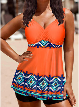 Print Strap V-Neck Vintage Fresh Tankinis Swimsuits