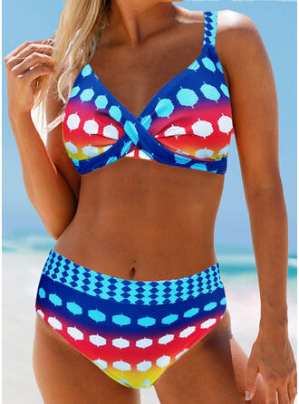 Dot High Waist Strap Bohemian Attractive Plus Size Bikinis Swimsuits
