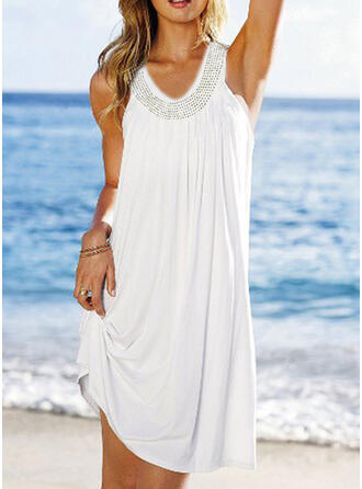Solid Color V-Neck Bohemian Attractive Cover-ups Swimsuits