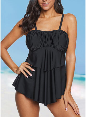 Solid Color Ruffles Strap Attractive Casual Swimdresses Swimsuits