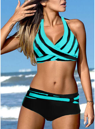Triangle Color Block Halter V-Neck Sexy Eye-catching Bikinis Swimsuits
