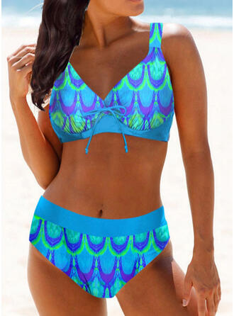 High Waist Print Strap V-Neck Vintage Plus Size Bikinis Swimsuits