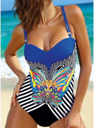 Floral Stripe Print Strap Eye-catching Boho One-piece Swimsuits
