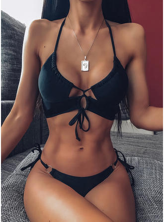 Solid Color Drawstring Halter Sexy Beautiful Classic Bikinis Swimsuits