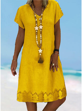 Solid Color Hollow Out V-Neck Plus Size Casual Cover-ups Swimsuits