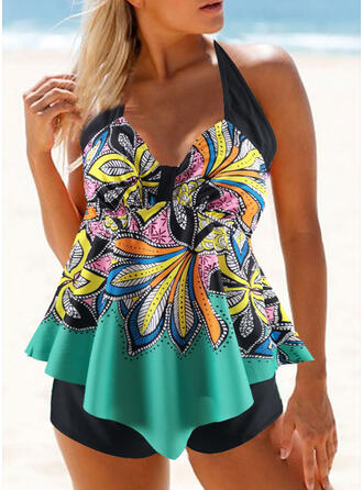 Floral Tropical Print Lace Up Halter V-Neck Strapless Sexy Sports Colorful Eye-catching Tankinis Swimsuits
